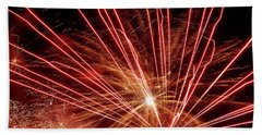 Bath Towel featuring the photograph Color Blast Fireworks #0731 by Barbara Tristan