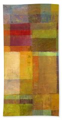 Bath Towel featuring the painting Color Collage With Green And Red by Michelle Calkins