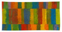 Bath Towel featuring the painting Color Collage With Stripes by Michelle Calkins