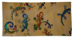 Color Lizards On The Wall Bath Towel by Rob Hans