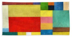 Color Panel Abstract With White Buttons Bath Towel