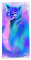 Bath Towel featuring the painting Color Wash Cat by Nick Gustafson