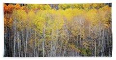 Bath Towel featuring the photograph Colorado Aspen Trees Fall Foliage Woodland by Andrea Hazel Ihlefeld