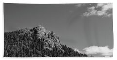 Bath Towel featuring the photograph Colorado Buffalo Rock With Waxing Crescent Moon In Bw by James BO Insogna