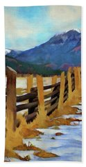 Bath Towel featuring the painting Colorado Fence Line  by Jeff Kolker