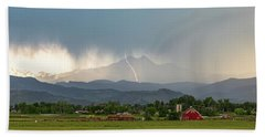 Bath Towel featuring the photograph Colorado Front Range Lightning And Rain Panorama View by James BO Insogna
