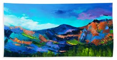 Bath Towel featuring the painting Colorado Hills by Elise Palmigiani