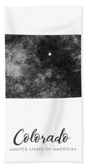 Colorado State Map Art - Grunge Silhouette Bath Towel