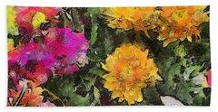 Colored Flowers Bath Towel