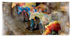 Bath Towel featuring the photograph Colored Horses. by Andrey  Godyaykin