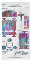 Colorful 1889 First Computer Patent Bath Towel