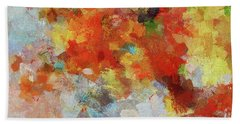 Hand Towel featuring the painting Colorful Abstract Landscape Painting by Ayse Deniz