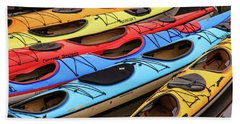 Colorful Alaska Kayaks Bath Towel