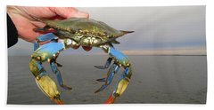 Hand Towel featuring the photograph Colorful Blue Crab by Phyllis Beiser
