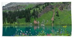 Colorful Blue Lakes Landscape Hand Towel