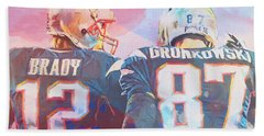 Bath Towel featuring the painting Colorful Brady And Gronkowski by Dan Sproul