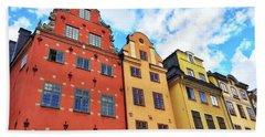 Colorful Buildings In Gamla Stan, Stockholm Bath Towel