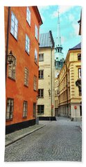 Colorful Buildings In The Old Center Of Stockholm Bath Towel