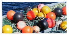 Hand Towel featuring the photograph Colorful Buoys by Barbara Griffin