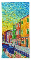 Colorful Burano Sunrise - Venice - Italy - Palette Knife Oil Painting By Ana Maria Edulescu Bath Towel