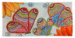 Colorful Butterfly In Madhubani Art Hand Towel