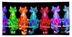 Colorful Calico Cats Bath Towel