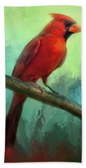 Colorful Cardinal Bath Towel by Barbara Manis