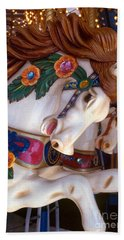 colorful carousel horse photograph - Romping Redhead Bath Towel