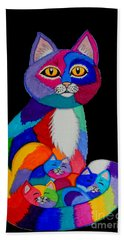 Colorful Cats And Kittens Bath Towel