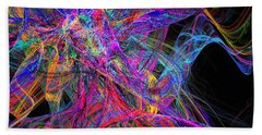 Bath Towel featuring the digital art Rainbow Colorful Chaos Abstract by Andee Design