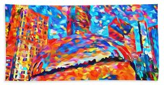Hand Towel featuring the painting Colorful Chicago Bean by Dan Sproul