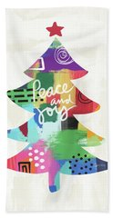Colorful Christmas Tree- Art By Linda Woods Bath Towel