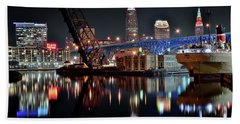 Bath Towel featuring the photograph Colorful Cleveland Flats by Frozen in Time Fine Art Photography