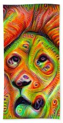 Colorful Crazy Lion Deep Dream Bath Towel