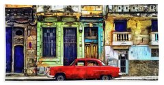 Hand Towel featuring the painting Colorful Cuba by Edward Fielding