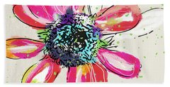 Hand Towel featuring the mixed media Colorful Daisy- Art By Linda Woods by Linda Woods