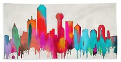Colorful Dallas Skyline Silhouette Hand Towel by Dan Sproul