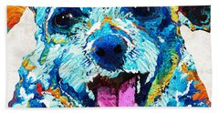 Colorful Dog Art - Smile - By Sharon Cummings Hand Towel