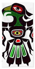Colorful Eagle Symbol Hand Towel