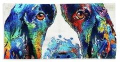 Colorful English Springer Spaniel Dog By Sharon Cummings Bath Towel