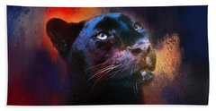 Colorful Expressions Black Leopard Hand Towel by Jai Johnson