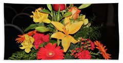 Colorful Flowers Hand Towel by Suhas Tavkar