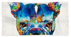 Colorful French Bulldog Dog Art By Sharon Cummings Hand Towel