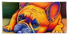 Colorful French Bulldog Hand Towel