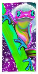 Colorful Frog In The Moonlight Bath Towel