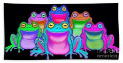 Hand Towel featuring the painting Colorful Froggies by Nick Gustafson