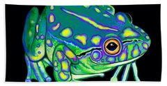 Bath Towel featuring the painting Colorful Froggy 2 by Nick Gustafson