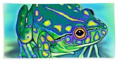 Bath Towel featuring the painting Colorful Froggy by Nick Gustafson