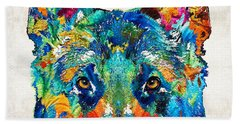 Colorful German Shepherd Dog Art By Sharon Cummings Bath Towel