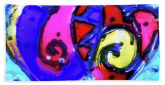 Hand Towel featuring the painting Colorful Hearts Equals Crazy Hearts by Genevieve Esson
